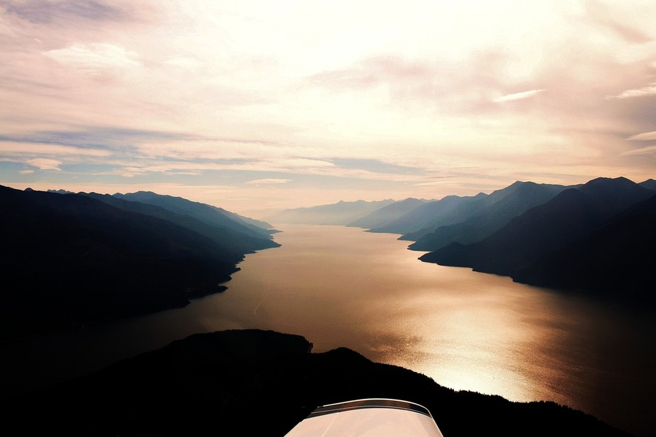 Shadowy Kootenay River, BC from the air