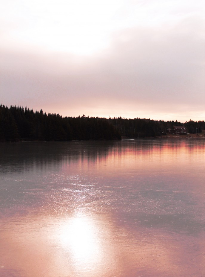 Early morning sun on a frozen Square Lake
