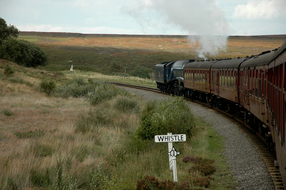 View of the North Yorkshire Moors from Sir Nigel Gresley travelling through the Moors.