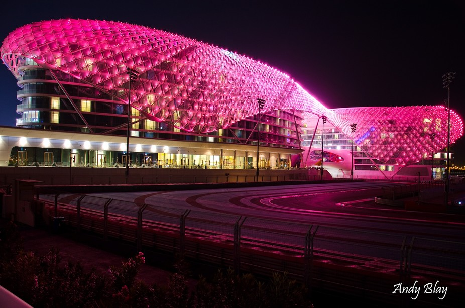 Viceroy hotel on the UAE F1 Circuit, track goes under the hotel. It changes colour so watch this ...