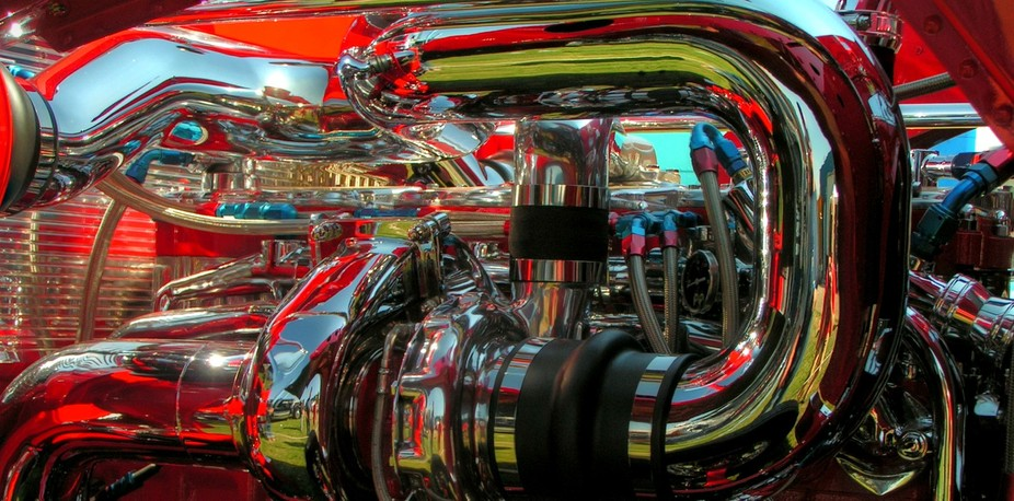 Under the hood of a Peterbilt show truck.