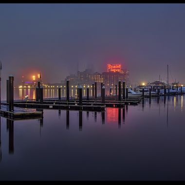 A purple fog over Baltimore's Inner Harbor