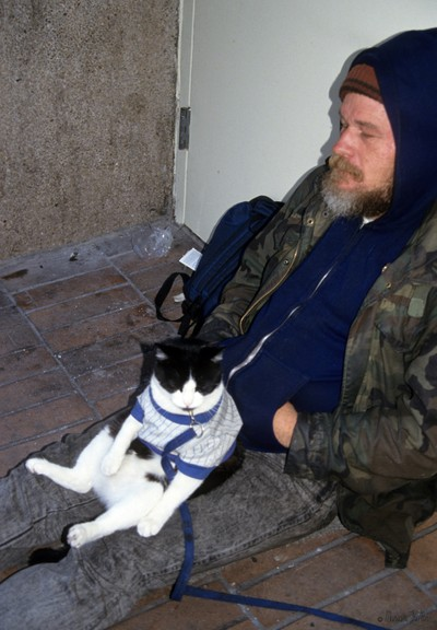 Homeless Man with His Cat