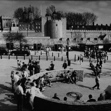 A seating area near the Tower of London
