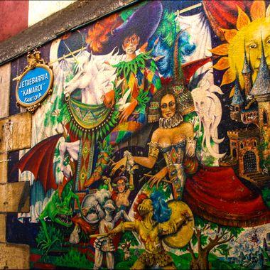 A colourful street mural.