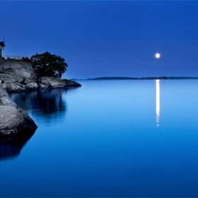 Moon over a Swedish archipelago