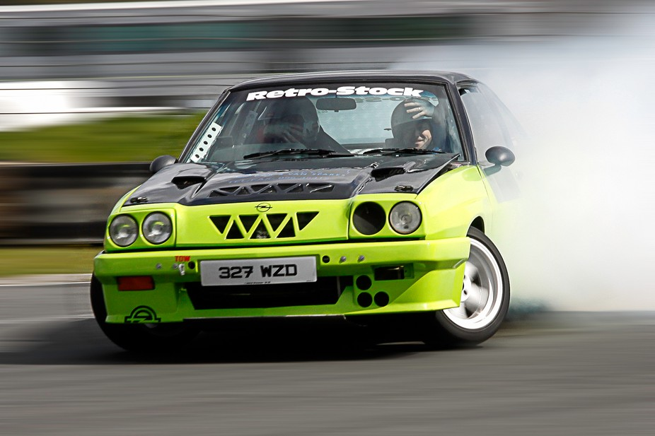 A drifting day at Mondello Park near dublin. These guys were probably traveling at  80 to 90 mph ...