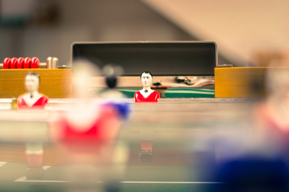 Image for the goal keeper, from a players POV. (just after an office Foosball competition)