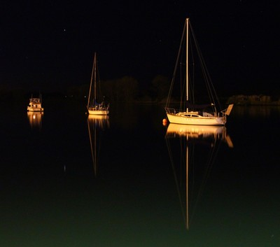 Boats on the Whakatane River at Night