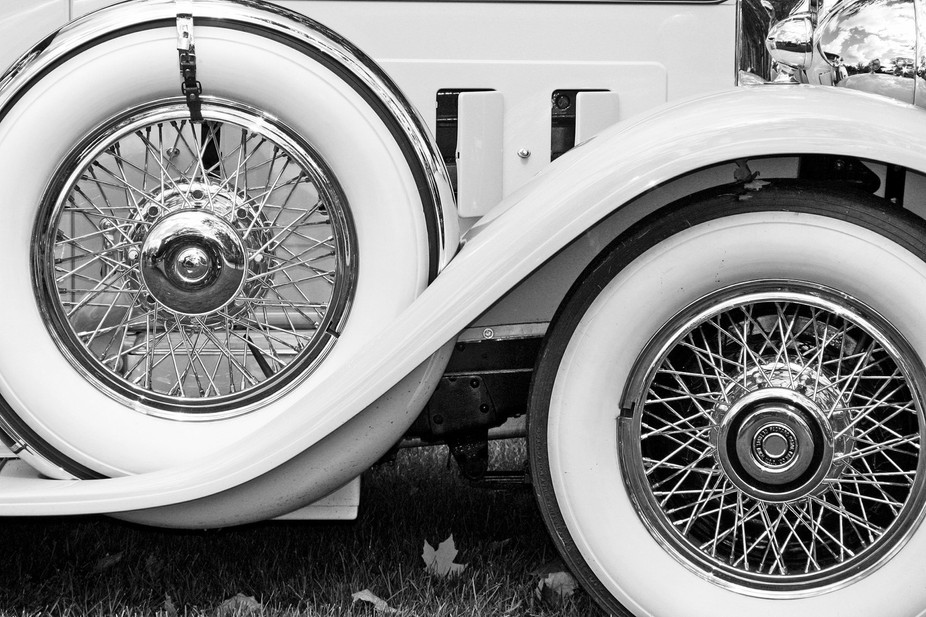 Tire and spare tire of a classic car.