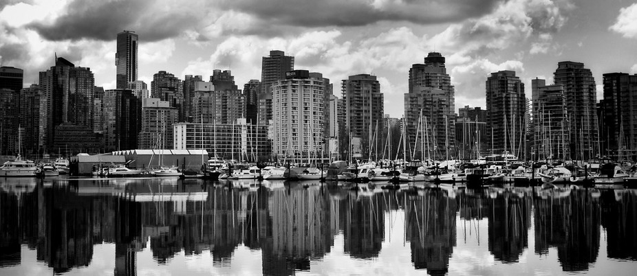 View across Coal Harbour from Stanley Park, Vancouver, Canada