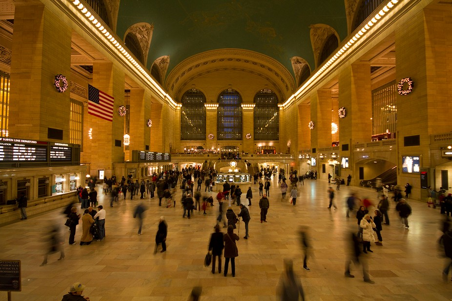 A 1/2 second exposure to capture the movement of the users of this monumental terminal.