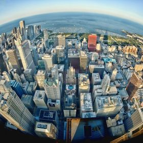 View from the Sears Tower Skydeck with  a fisheye lens.