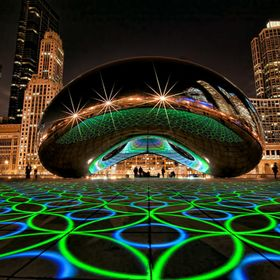 Shot of Luminous Field art installation by Luftwerk at the Cloud Gate  sculpture in Millennium Park Chicago.