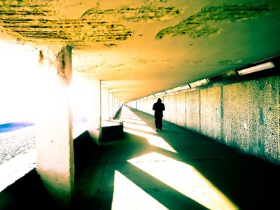Seafront underpass - walking alone