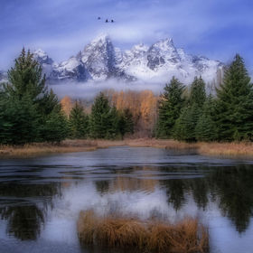 This is a mid fall capture of the Tetons form the infamous beaver dam in the area known as Schwabachers Landing.