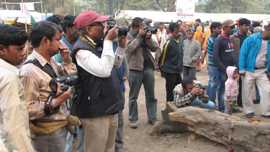Photo hunters thronged in Kolkata (India)to hunt disciples, pilgrims,sadhus on their way to holy ...
