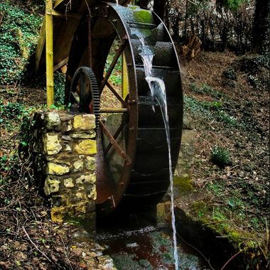 This water wheel is working at Abergwyngregyn, near Bangor, North Wales.