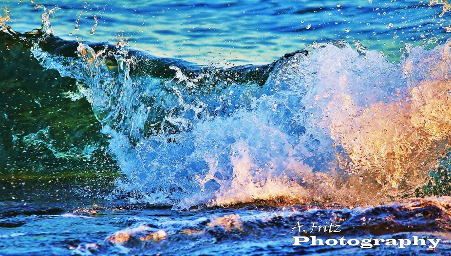 Beautiful clear freshwater waves...roll and crash in the sunlight...Tobermory,Ont.