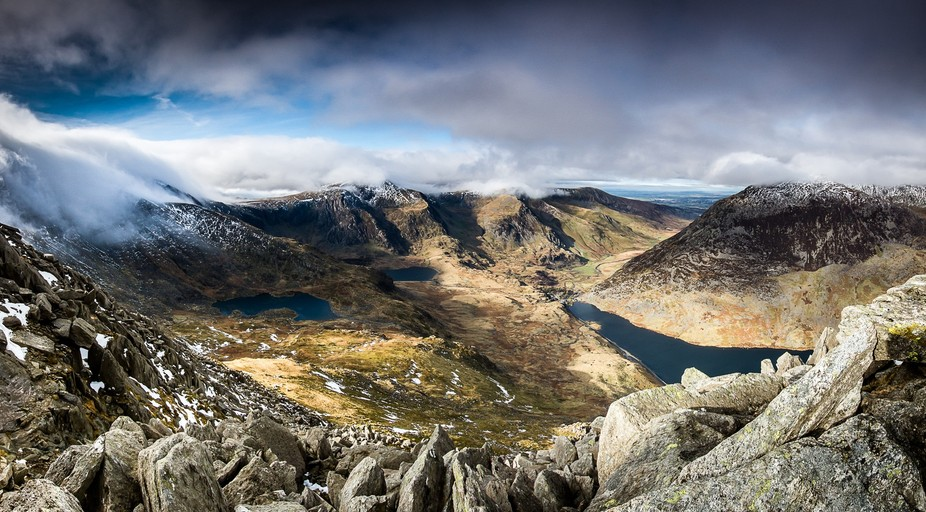 Taken from the summit of Tryfan, wales. 6 shot panoramic.