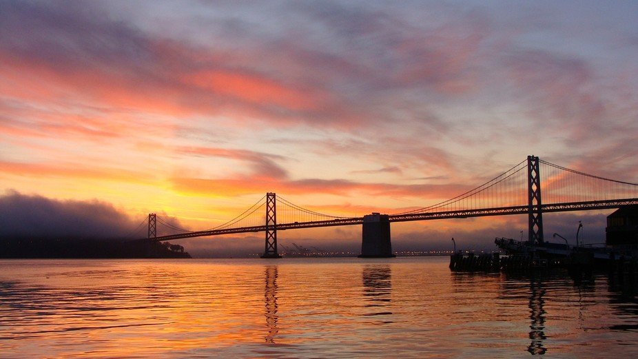 Oakland Bridge taken from San Francisco Harbor