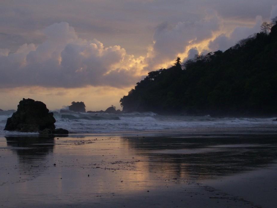 Twilight on the beach, pacific coast of Costa Rica