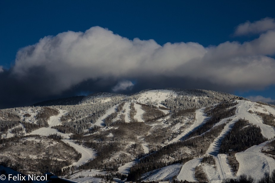 A snow storm coming over the mountains in Steamboat Springs CO.