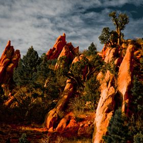 The sun sets over rock formations at the Garden of the Gods park in Colorado.