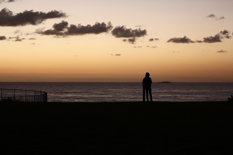 Early morning shoot at Wollongong, Sydney my son leaning upon a post, alone checking out the view...