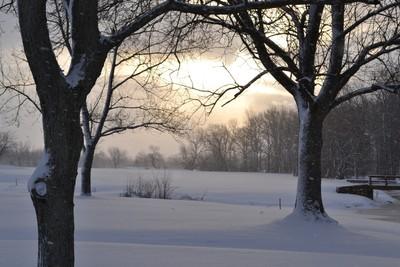 Heavy snow fall at sunrise