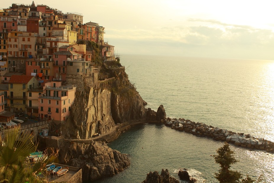 """The Cinque Terre consists of five small villages (""""cinque terre"""" means """"five lands"""" in It..."""
