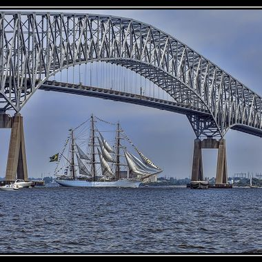 """Sailabration"" Tall Ships departing under the Key Bridge"