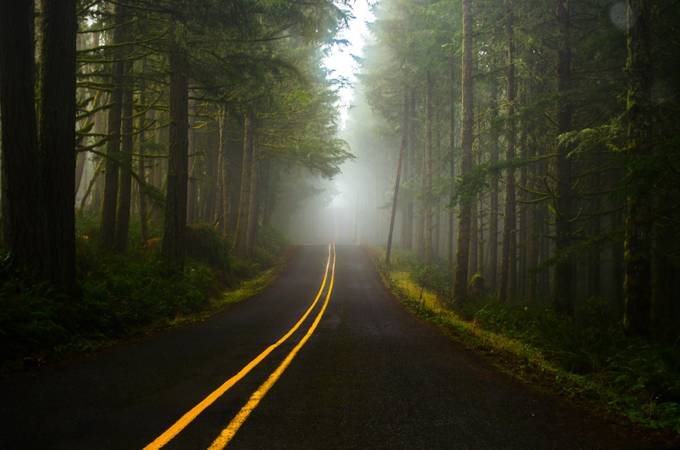 Foggy road by FlyingMonkey158 - Diagonals And Composition Photo Contest