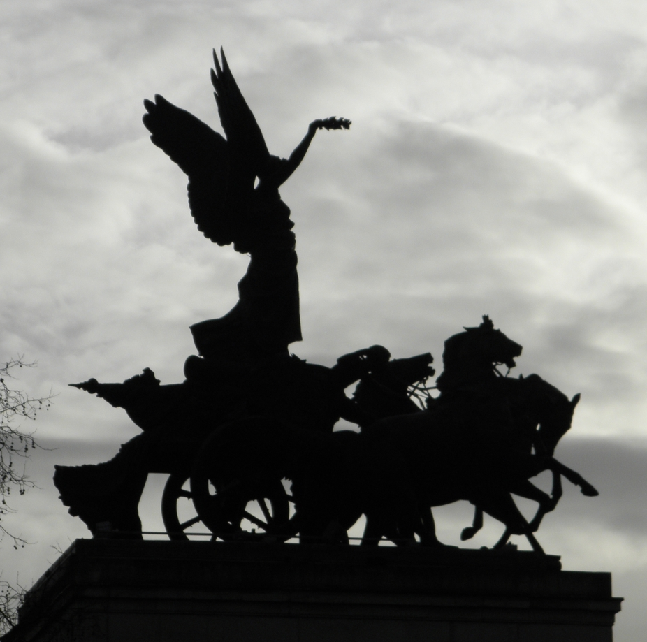 Statue on top of the Wellington Arch, London