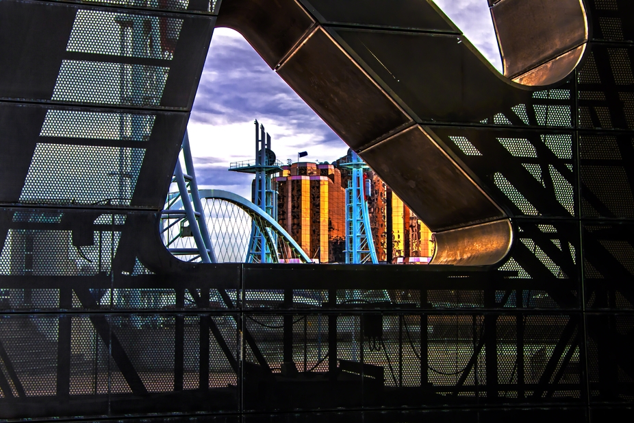 A view of the Lowry Bridge from a different perspective. The Lowry Outlet, Salford Quays, Manches...
