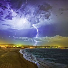 The pyrotechnic display as put on by Mother Nature over Kirra Beach Queensland Australia