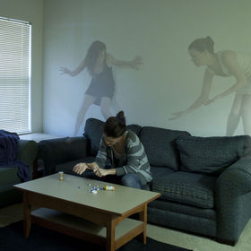 A composite of three images, all are self portraits-the three figures are all of me.