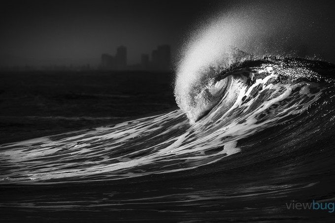 Surf Curl by juliebowser - Depth In Black And White Photo Contest