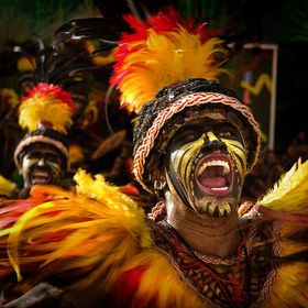 Taken during Aliwan Festival in Manila, Philippines. This troupe represents the Dinagyang Festival of Iloilo City.