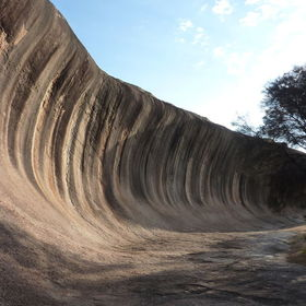 Wave rock, a granite cliff is 15 met high and 110 met long, is a rounded shape caused by weathering and water erosion, believed to have formed 27...