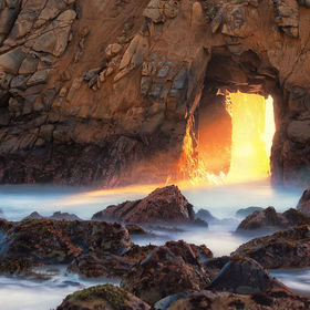 Magnificent golden rays of light traversing the doorway to another realm. Location: Big Sur - Pfieffer Beach, CA  For prints, go to http://www.cr...