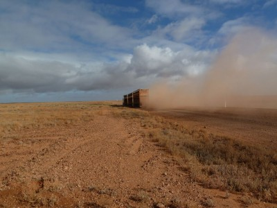 Road train on the Oodnadatta Track, Northern Territory, Australia