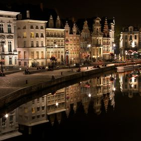 A summer night shot of the Old Harbour in Gent, Belgium.
