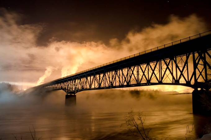 Peace River Bridge by Peaceofthenorth - Bridges In The Night Photo Contest