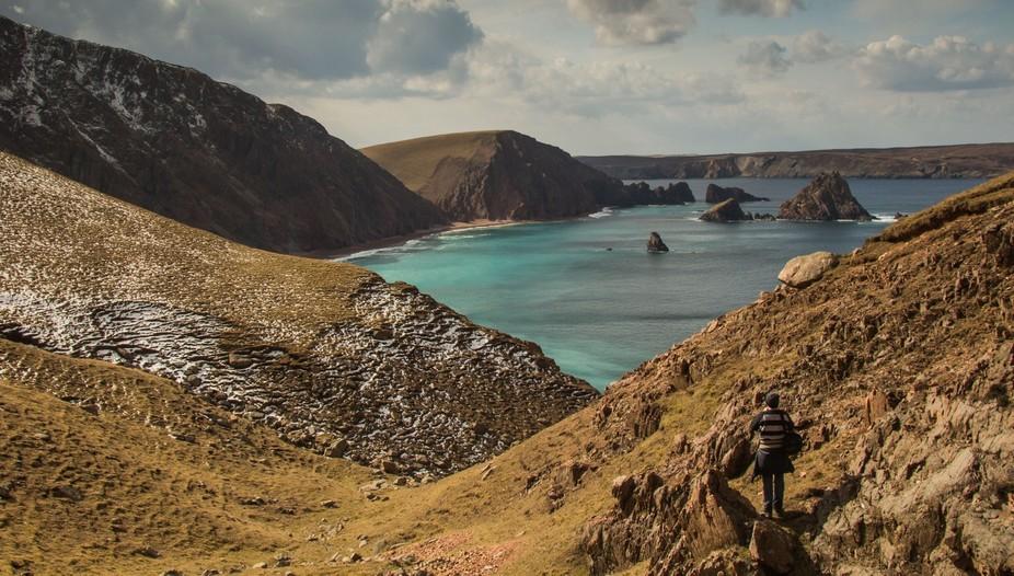 Eying up a photo at the Lang Ayre - Shetland