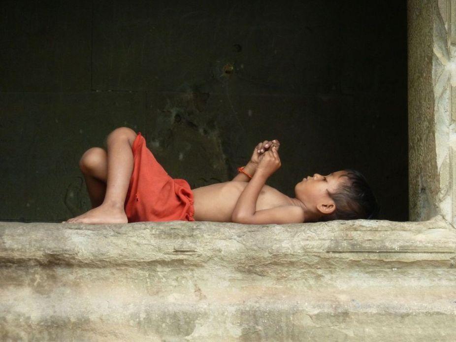 Cambodian boy-Ankhor Wat.