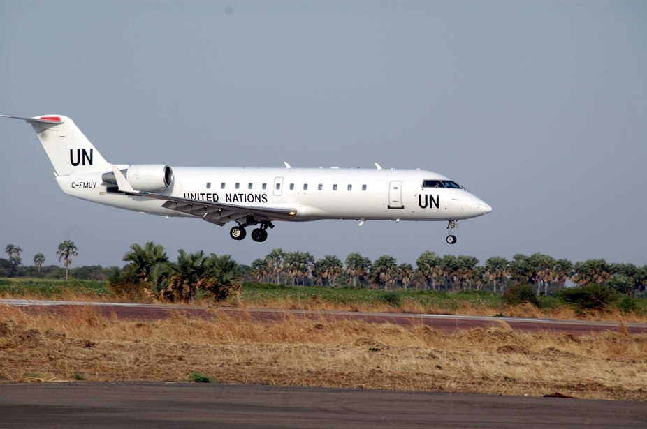 A UN plane prepares to land at malakal airport in southern Sudan