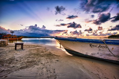 Boat on Beach in Jamaica