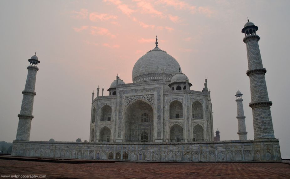 The Taj Mahal is a white marble mausoleum located in Agra, Uttar Pradesh, India. It was built by ...