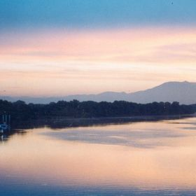The Rhône River at Dawn, Viewed from the Bridge of the Kingdom, VILLENEUVE LES AVIGNON,Provence,France
